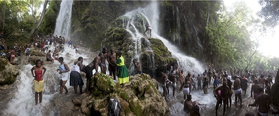 Haiti, 2009  At Haiti's Saut d'Eau waterfall, pilgrims bathe and converse in the icy waters during the festival of the Virgin of Miracles, a celebration that honors a reported apparition of the Virgin Mary on top of a palm tree.