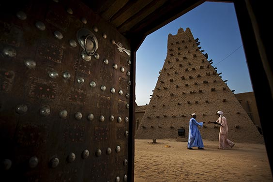 Timbuktu, Mali The Sankore Mosque, one of three Islamic monuments in Timbuktu listed by the United Nations as World Heritage sites, is currently threatened by a civil war in Mali. The conflict has pitted the nomadic Tuareg of the north against the Bambara and other tribes that control the reins of power in Bamako, the capital of Mali.