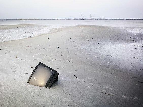 TV in the sand post Hurricane Katrina, Bay St. Louis, Mississippi.