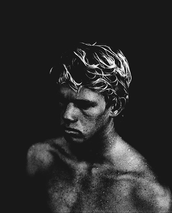 Barash's portrait of prodigy surfer John-John Florence was shot near the athlete's home in Hawaii. The image was selected from Barash's photographic series and book, Talk Story: a visual study of the sub-culture of Hawaii's North Shore, which is anchored around John Florence and his family.