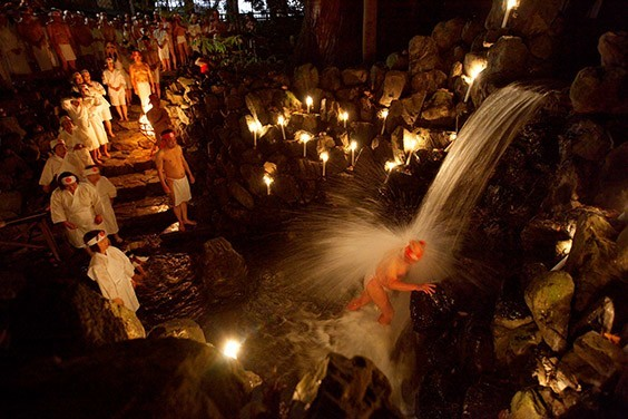 Japan, 2009  In Japan's Mie Prefecture, the sacred cascade at the Tsubaki Grand Shrine washes away impurities. The Shinto ritual called misogi shuho celebrates the communion among worshipper, waterfall and the creative life force of the universe.