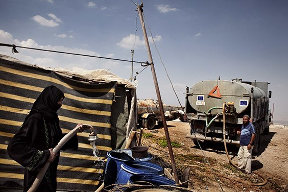 West Bank, 2009  A source of conflict between Israelis and Palestinians, water is emblematic of their imbalanced relationship. During dry summers, West Bank Palestinians—restricted to shallow wells by Israel's occupation—have to buy groundwater tapped from beneath them.