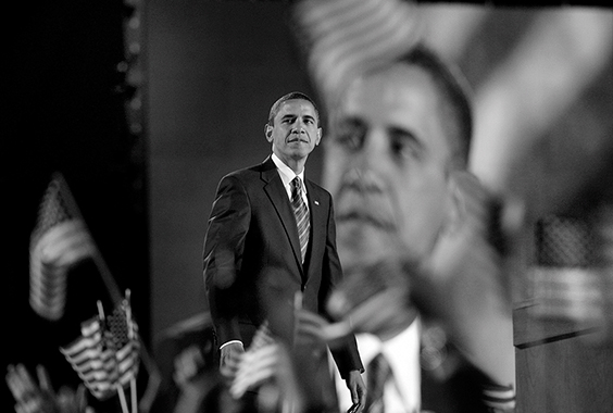 President-elect Barack Obama looks out over the crowd of thousands gathered at Grant Park in Chicago on November 4, 2008.