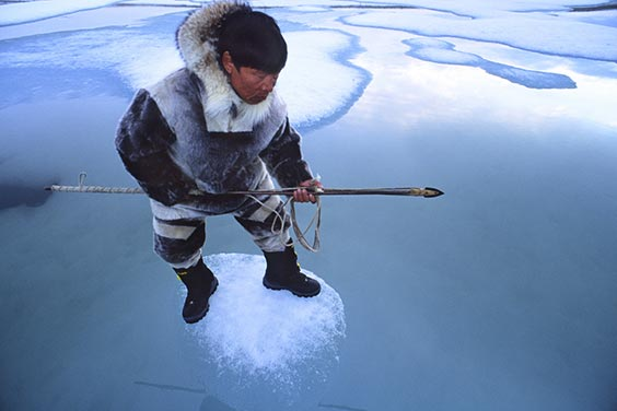 Baffin Island, Nunavut, Canada An Inuit hunter, Jayko Apak, waits for seals on an ice floe. The Inuit depend on ice for their survival, and it inspires the very essence of their character and culture. In much of the Arctic, ice once formed in September and remained solid until July. Now it comes in November and is gone by March. The ice is melting, and with it, quite possibly, a way of life.