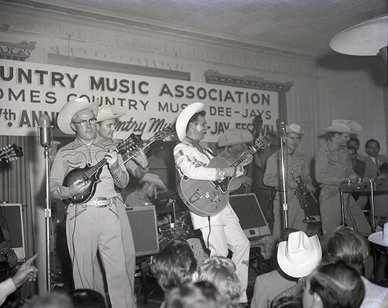 Hank Thompson and the Brazos Valley Boys perform at the annual DJ convention, Nashville, 1958