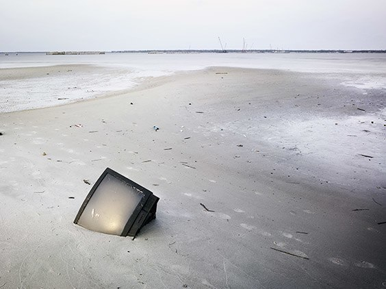 TV in the sand post Hurricane Katrina, Bay St. Louis, Mississippi.