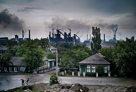 "From ""Donbass Romanticism"": The metallurgical plant in Enakievo, the birthplace of ousted Ukranian president, Viktor Yanukovych. Following the collapse of the Soviet Union, much of Eastern Ukraine ended up ruined. Many mines and factories lay abandoned and unemployment is high."